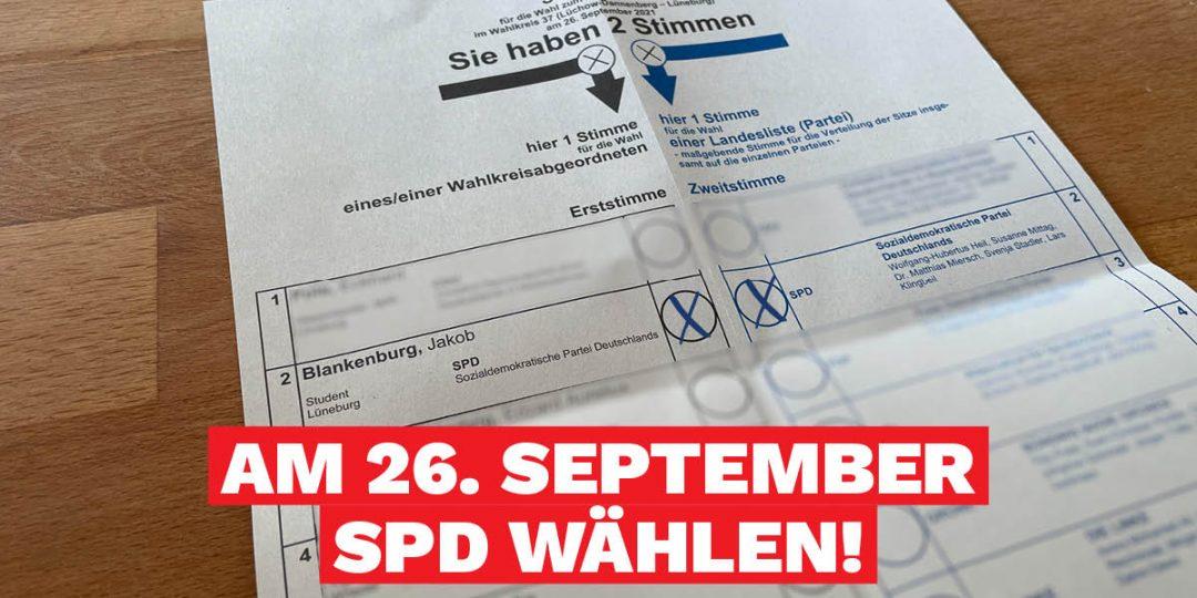 Wahlzettel Bundestagswahl Erststimme Zweitstimme